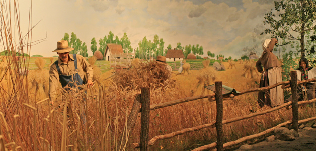 Photo of the 'Ukrainian Rye Farm/Delta Marsh' dioramas in the Parklands/Mixedwoods Gallery at The Manitoba Museum, Winnipeg.